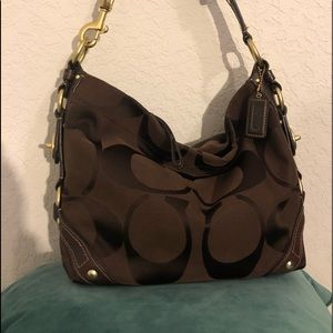 COACH brown shoulder bag with gold and leather